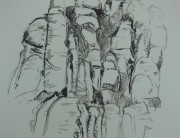 Ink drawing, Montserrat